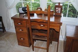Solid wood desk       Ladderback chair