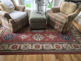 living room chairs and rug