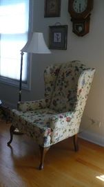WING BACK CHAIR RECENTLY  UPHOLSTERED  VERY NICE