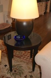Pair of Round Black Side Table with  Pair of Lamps and Decorative Blue Bowl