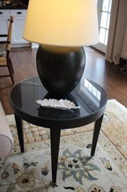 Pair of Round Black Side Table with  Pair of Lamps and Decorative Leaf and Rug