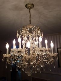 "Picture 2 of Schonbek Chandelier     26"" by 26""   gold tone metal with fleur de lis designs, faceted teardrops crystals, rosettes, crystal garland swags"
