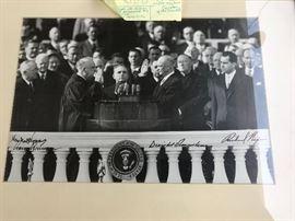 RARE original Presidential inauguration photo with 4 autographs Nixon, Truman, Hoover, Eisenhower!