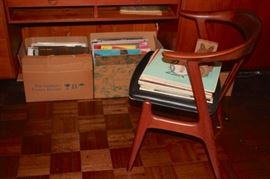 Teak and Danish Desks and Chairs with LPs