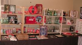 Coca-Cola collectibles + old soda pop bottles