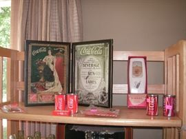 Old framed advertisement, S/P shakers, pencil sharpeners