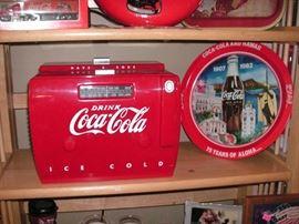 Coca Cola cooler cassette radio