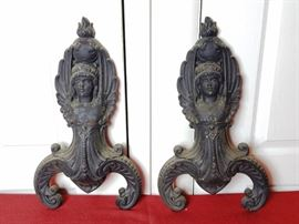 Pair Cast Iron Andirons   http://www.ctonlineauctions.com/detail.asp?id=728436