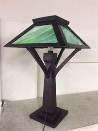 Arts & Crafts Slag Glass Lamp,Signed