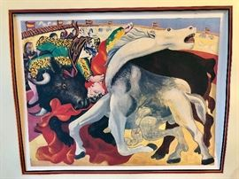 """Picasso - """"Corrida La Mort du Torero"""" (The Death of the Bullfighter) - 1980, Litho on Arches paper numbered in pencil- 1120 in an edition of 5000 - Printed by I.M.L., Paris"""