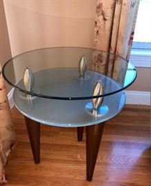 Contemporary side table, glass top