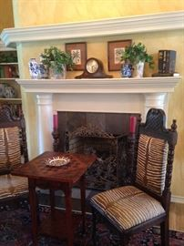 Matching chairs from Spain (zebra print fabric); game table (corners fold inward);  mantel clock; blue & white selections