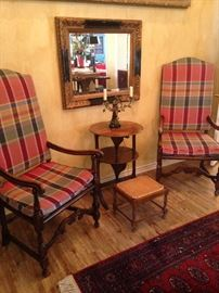 Matching antique plaid chairs from Scotland; framed mirror; 2-tier tilt table