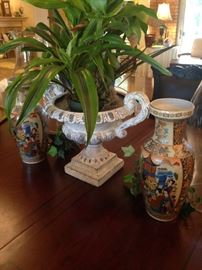 Live plant & trophy shaped planter; Asian urns