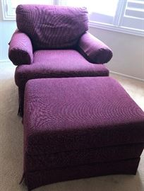 Plum occasional chair with matching ottoman