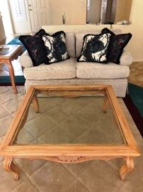 Washed Oak Glass-topped Coffee Table