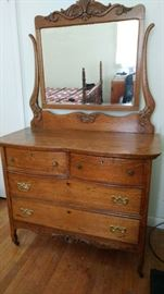 Golden Oak Dresser with Mirror