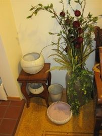 McCoy Pottery, Dried Flower arrangement in Tall Vase, Small Table