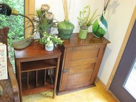 Antique Record Stand, Cabinet, Vases and Vintage Lamp