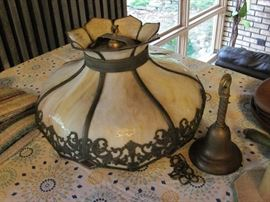 Tiffany Hanging Lamp, Leaded with Red Diamond Accents
