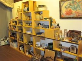 Pottery Pieces, Art Work, Vintage Frames, Collectible Boxes from all around the Globe.  (Shelving Unit NFS)