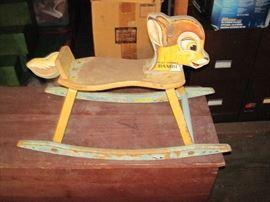 Rare Vintage 1940's Walt Disney Bambi Rocking Horse, Good Condition