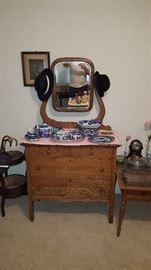 Antique dresser, Willowware Dishes