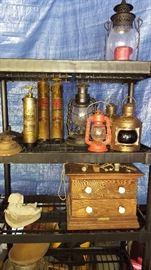 Kerosene lanterns, antique 2-drawer cabinet
