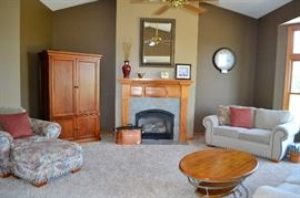 Living Room furniture - armoire, chair & ottoman, love seat, coffee table,  mirror, antique copper bin