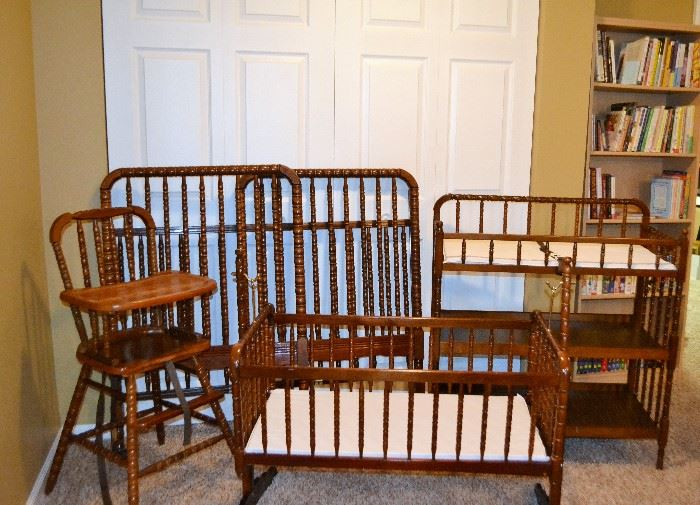 Crib, bassinet, changing table, high chair