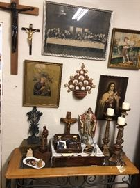 Christian art and artifacts from mid century north Denver home