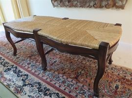 FRENCH COUNTRY BENCH WITH WOVEN RUSH SEAT