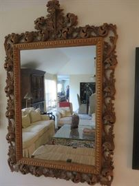 ROCOCO NATURAL WOOD CARVED MIRROR NATURALLY AGED FINISH  MADE IN ITALY