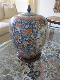 CHINESE FAMILLE GINGER JAR WITH LID