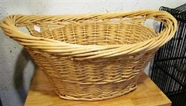 Heavy wicker laundry basket