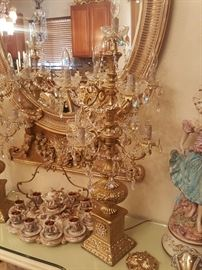 Candelabra chandelier lamp over 3ft tall perfect condition with new crystals added. I have a pair of these lamps