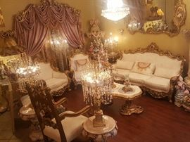 French Rococo set very clean. Two Throne chairs, to sofa chairs, one sofa period tables are sold separately