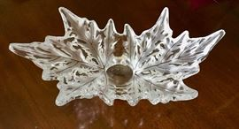 """Lalique 18"""" Champs Elysees Frosted Leaf Centerpiece Bowl - Signed"""