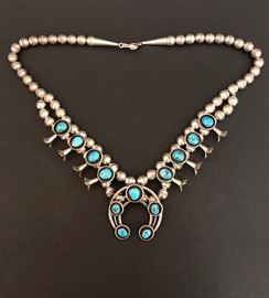 Vintage Sterling Silver Turquoise Squash Blossom necklace.