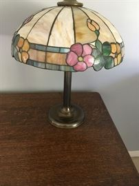 a close-up photo of the tiffany-style lamp