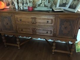 1914 Jacobean sideboard or buffet.  Part of a dinning room set.