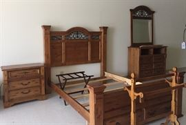 Haverty's bedroom suite includes nightstand, queen headboard foot board with two drawers includes rails, entertainment chest of drawers, dresser, mirror.