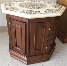 Quality mid century marble top end table.  Marble is inlaid with India motif and back-lite.