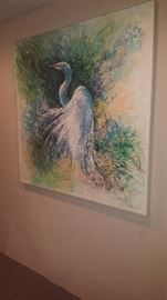 "$100 Edna Laird bird painting  measures 46"" x 46"""