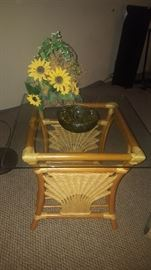 $40  glass top bamboo table  (there are two)