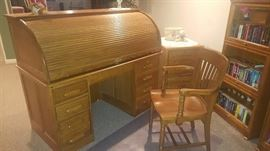 $100  Oak, roll top desk  Wood chair  $20