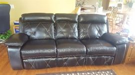 $575  Brown leather electric recliner sofa