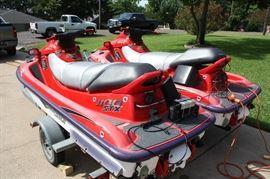 2 Kawasaki JET SKI's 1110 STX Watercraft With Trailer