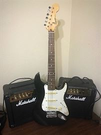 Mini Fender Guitar and Marshall Amps
