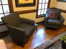 Matching Black and Tan Rowe furniture armchairs.